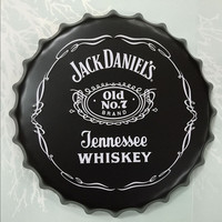 Jack Daniel Old N ° 7 Marca Jennessee Whiskey Beer Cap Rodada Sinal da cerveja Sinal Da Lata Do Vintage Casa Decor Para Bar Pub Café