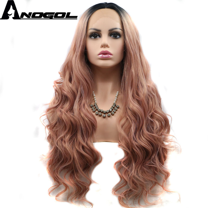 Anogol High Temperature Fiber Peruca Cabelo Full Wig Black Ombre Pink Long Body Wave Synthetic Lace Front Wig For Women Costume