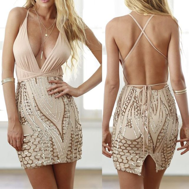 Spaghetti Strap Dress Prom Party Sequined Mini Dresses Sexy Lady Backless  Bodycon Club Dresses Prom Gold Sequin Clothing ef12a1eda7f1