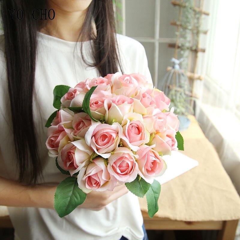 YO CHO Wedding Bouquet Pink Roses Flower Bridal Bouquet White Artificial Wedding Bouquet For Bridesmaids Holder Wedding Supplies