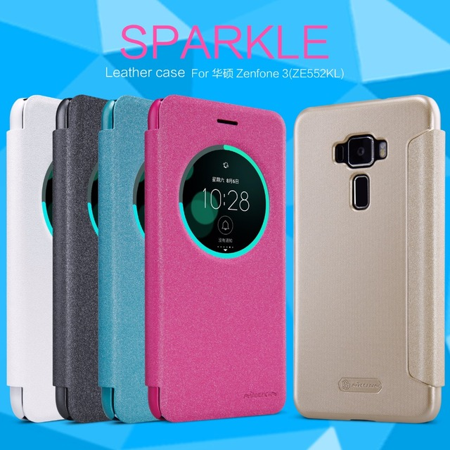 new concept 0b950 01d4e US $8.33 |Asus Zenfone 3 ZE552KL case Zenfone 3 ZE520KL case Nillkin  Sparkle leather case flip cover round window + wake/sleep function-in Flip  Cases ...