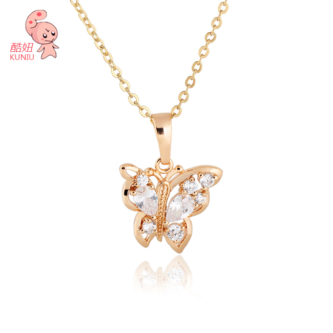 Butterfly Gold Pated Pendant Necklace Jewelry Austrian Crystal Wholesale (KUNIU D0387)