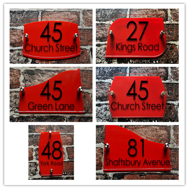 Customized Double Layers of Transparent Acrylic House Number Plaques Sign Plates House Signs with Vinyl Stickers Films customized transparent acrylic house number plaques sign plates door number street name plates house signs with frosted films