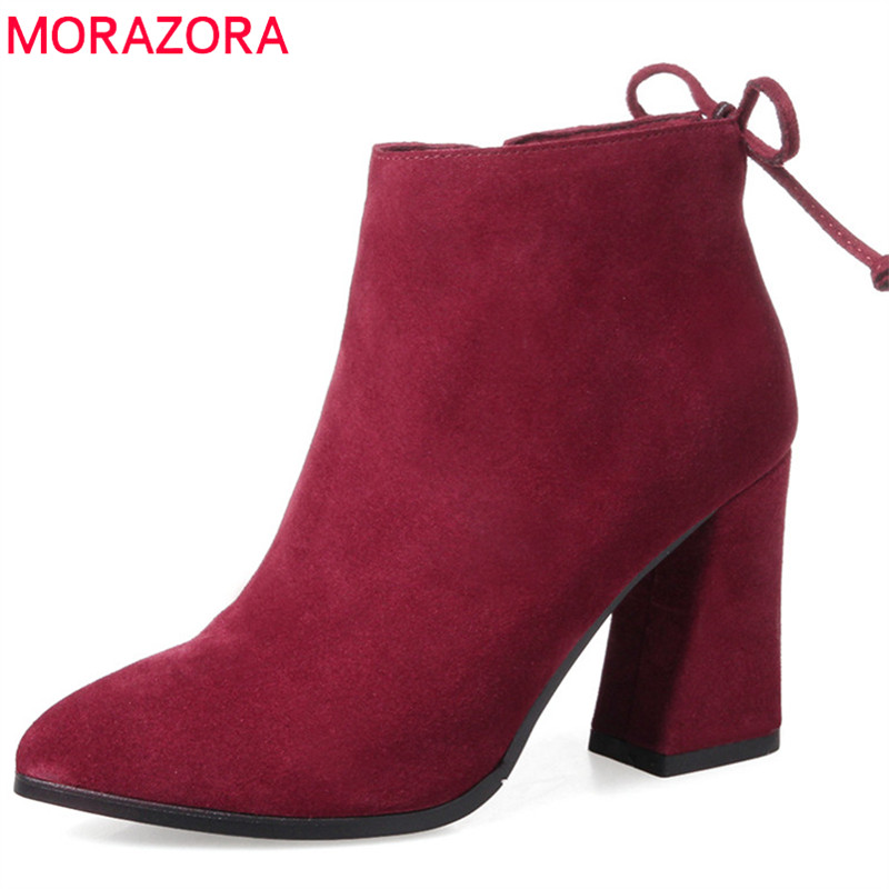 MORAZORA 2018 large size 33-42 pointed toe zip ladies boots suede leather ankle boot for women fashion square high heels bootsMORAZORA 2018 large size 33-42 pointed toe zip ladies boots suede leather ankle boot for women fashion square high heels boots
