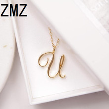 hot deal buy zmz 2018 europe/us fashion english letter pendant lovely letter u text necklace gift for mom/girlfriend party jewelry