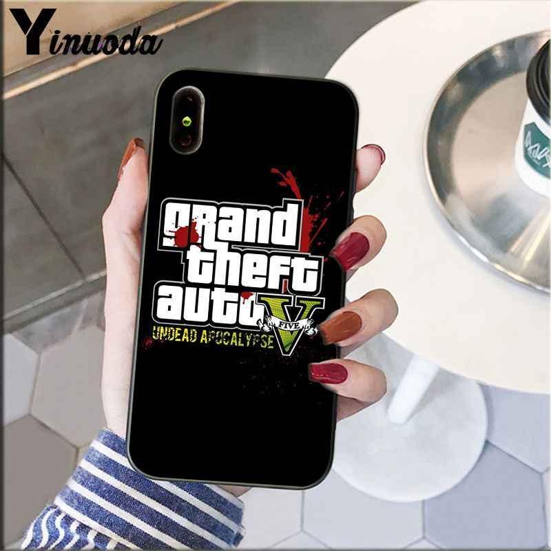 Yinuoda gta 5 แกรนด์ขโมยอัตโนมัติสมาร์ทสีดำโทรศัพท์กรณีเปลือกนุ่มสำหรับ iPhone 5 5Sx 6 7 7 plus 8 8 Plus X XS MAX XR