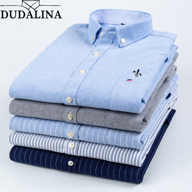 DUDALINA 2019 Men Shirt  Oxford 100% Cotton Long Sleeved Classical Male Shirts Formal Business Shirt Man Embroidery Logo