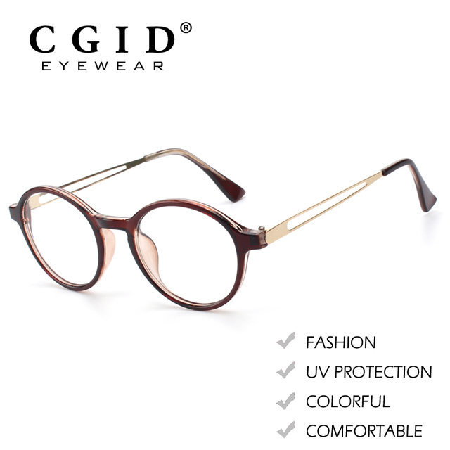 CGID Fashion Style Round Colorful Frame Metal Arms with 100%UV Protection  Clear Lens Glasses