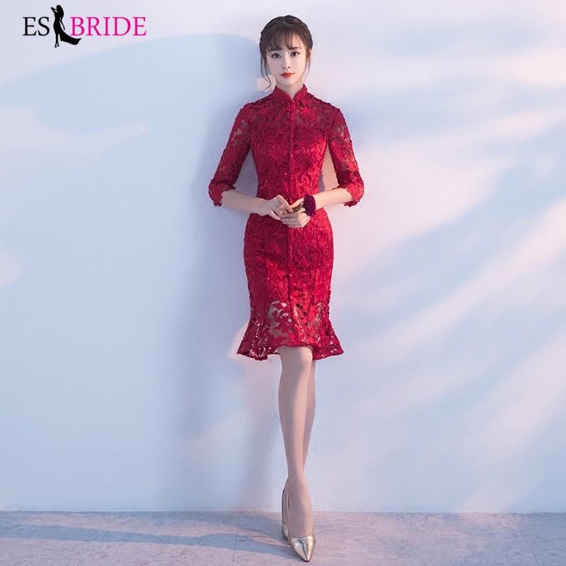 Red Mermaid Evening Dresses For Women Elegant Evening Dresses Lace Appliques Wedding Guest Dress Party Gown Vestidos ES1648