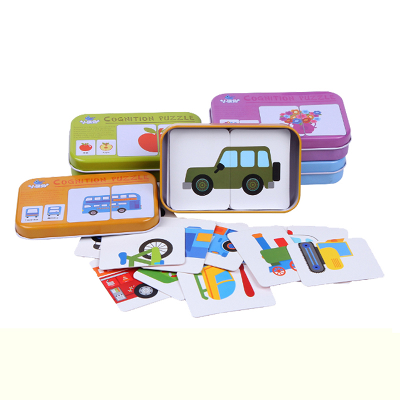 Early Educational Montessori English Fruit Animal Traffic Match Game Puzzle Card Toys for Iron Box Package 3D Puzzle toys