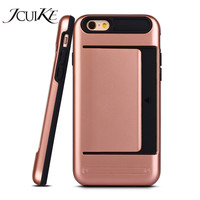 Durable Rubber Hybrid Credit Card Slot For IPhone 6 6s Plus Phone Cases Pocket Wallet Back