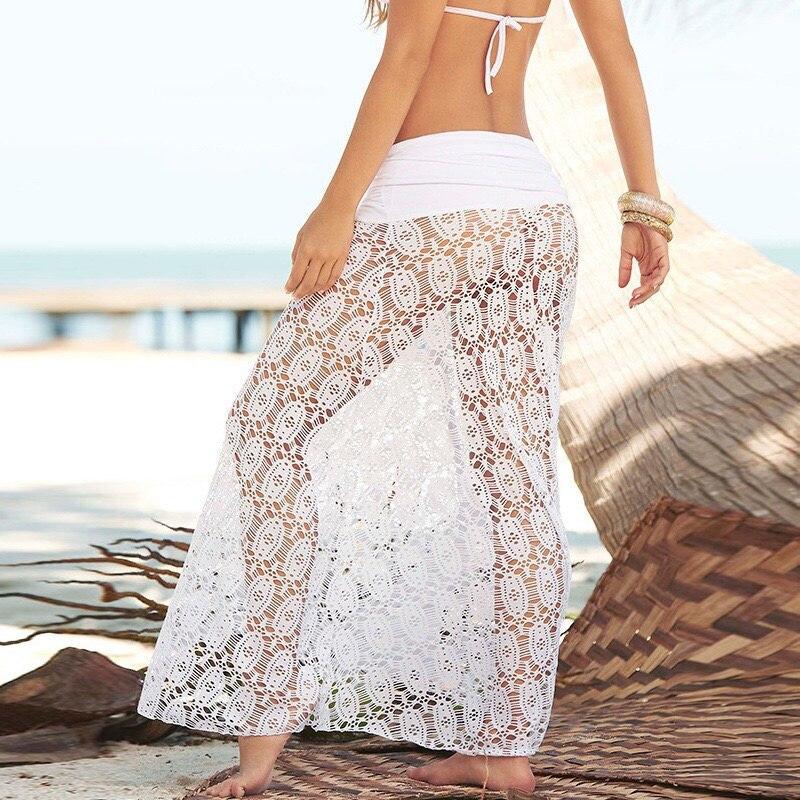 2019 Summer Women Cotton Bikini Cover Up Hollow Out Beachwear Pareo Bra Skirt Cover-Ups Beach Wear Sexy Beach Dress Tunic White 1