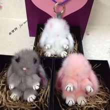 Free shipping Fashion mink fur Cute Funny Copenhagen bunny little monster Plush toys Bag Bugs accessories