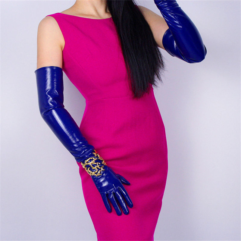60cm Patent Leather Long Gloves PU Emulation Leather Bright Leather Sticker Mirror Sapphire Blue Dark Blue Female WPU02-60