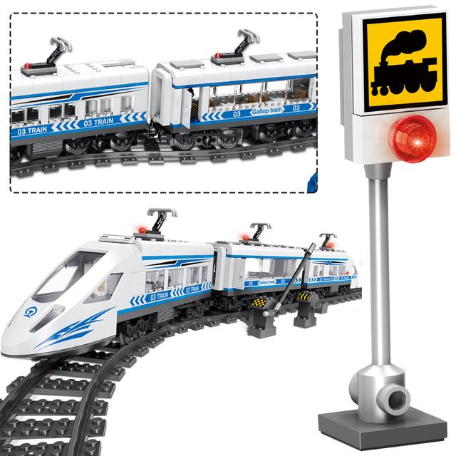 583pcs City Remote Control Railway Building Blocks Compatibe RC Train Station Technic Blocks Toys For Children Boys