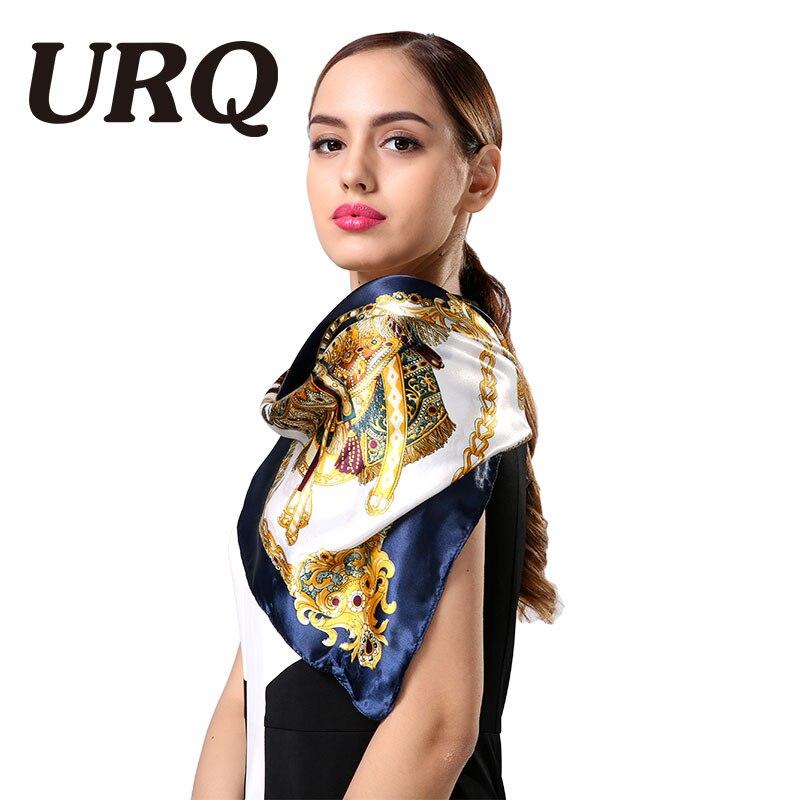 1PC 90*90cm Elegant Style  Wagon & Chain Printed Square Satin Silk Scarves Silk S9A9142