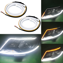ФОТО 2pc 60cm led drl strip running lights flexible turn signal amber flowing daytime running lights headlight strip for bmw amg