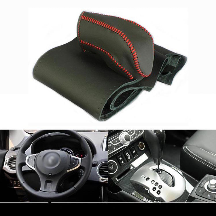 ФОТО Top Cowhide Sew-on Genuine Leather Steering Wheel Cover For Renault Koleos AT