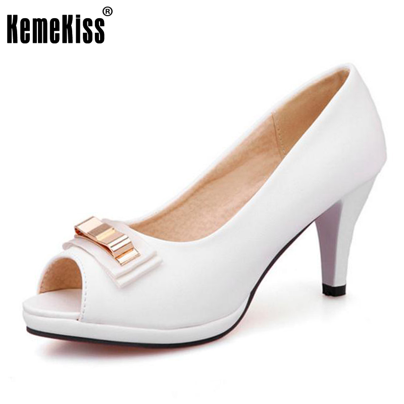 KemeKiss Brand Design Pumps Open Toe Thick High Heels Shallow Mouth Women Shoes Quality Party Dress Pumps Size 33-43 PA00711 high quality women shoes colorful rhinestone shallow mouth high heels mature women pumps round toe slip on party wedding shoes