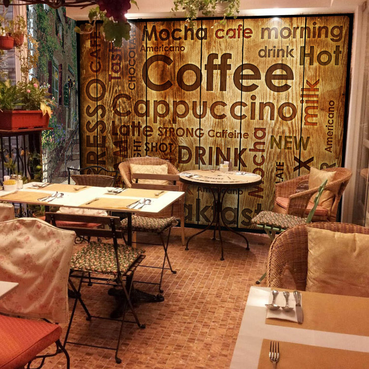 Beibehang cafe dimensional retro papel de parede 3d mural for Cafe mural wallpaper