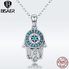 Authentic 925 Sterling Silver Lucky Hamsa Hand Long Necklaces Pendants Fatima Hand Necklace Women Jewelry bijoux Collar ECN264