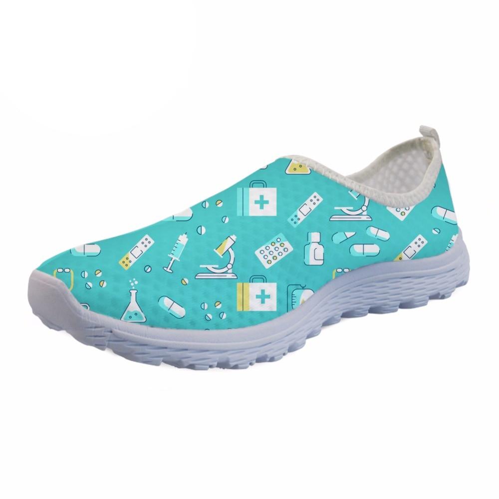 Yours Woman Comfortable Nursing Mesh Sneakers Girls Black Flat Shoes Zapatillas,Green Nurse Pattern,7