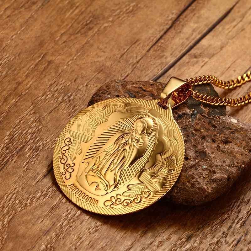 Męskie naszyjniki maryja panna Maria cudowny medalik złoty kolor ze stali nierdzewnej moda religia biżuteria