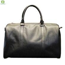 Mode herren leder reisetasche vintage duffle handtaschen große männer business gepäcktasche mit schultergurt sac hommes