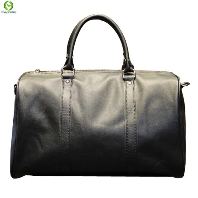 Fashion mens leather travel bag vintage duffle handbags large men business luggage bag with shoulder strap sac voyages hommes