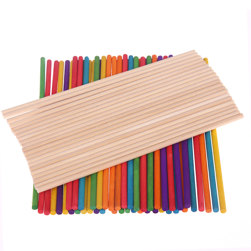50Pcs Colored Wooden Popsicle Sticks Natural Wood Ice Cream Sticks Kids Educational Toys Handmade DIY craft supplies in DIY Craft Supplies from Home Garden