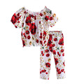 Pettigirl Girls Clothing Sets 2017 New Summer Girl Clothes With Cute Red Flower Printing Coat And Long Trousers CS90124-521F