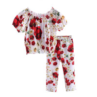 Red Summer Girls Clothing Set With Cute Flower Printing Coat And Hot Style Trousers CS90124-521F