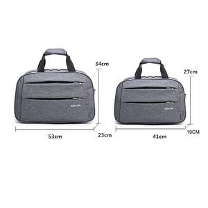 Image 2 - Luggage travel bags Waterproof canvas men women big bag on wheels man shoulder duffel Bag black gray blue carry on cabin luggage