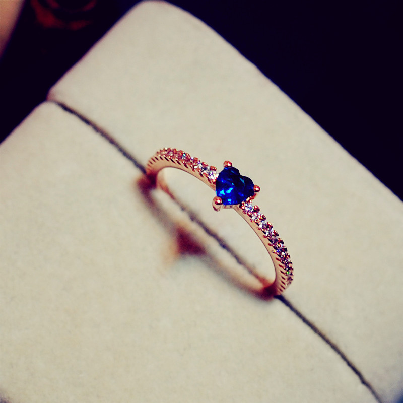 Simple Love Sapphire Ring For Women High quality Female Inlaid CZ ...