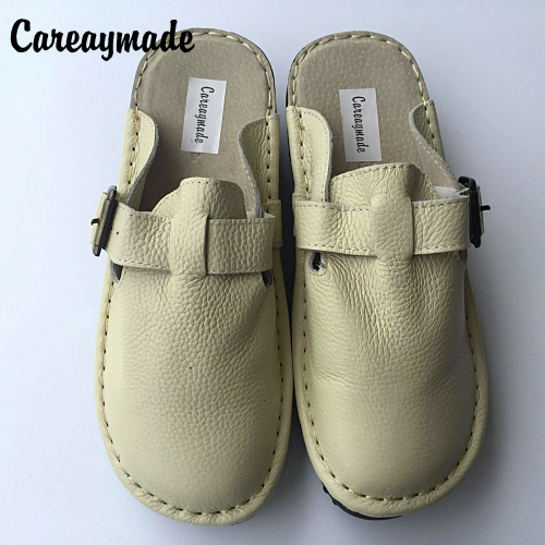Careaymade Nieuwe Lederen slippers, pure handgemaakte witte schoenen, de retro art mori meisje Flats schoenen, comfortabele casual schoenen-in Slippers van Schoenen op  Groep 1