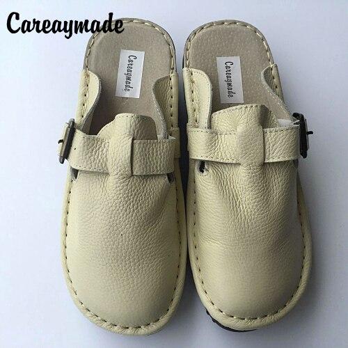 Careaymade nuevas zapatillas de cuero genuino, zapatos blancos hechos a mano puros, zapatos planos de chica mori de arte retro, zapatos casuales cómodos zapatos de-in Zapatillas from zapatos    1