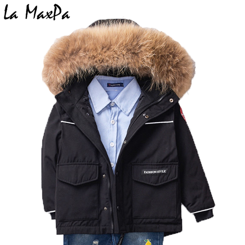 2018 Winter Children Long Jacket Boys 90% White Duck Down Snow Wear Girl Thick Super Large Nature Fur Collar Down Coats Parka 2018 winter baby boy down jacket large fur girl down jacket natural fur kids snow wear children down outerwear 90