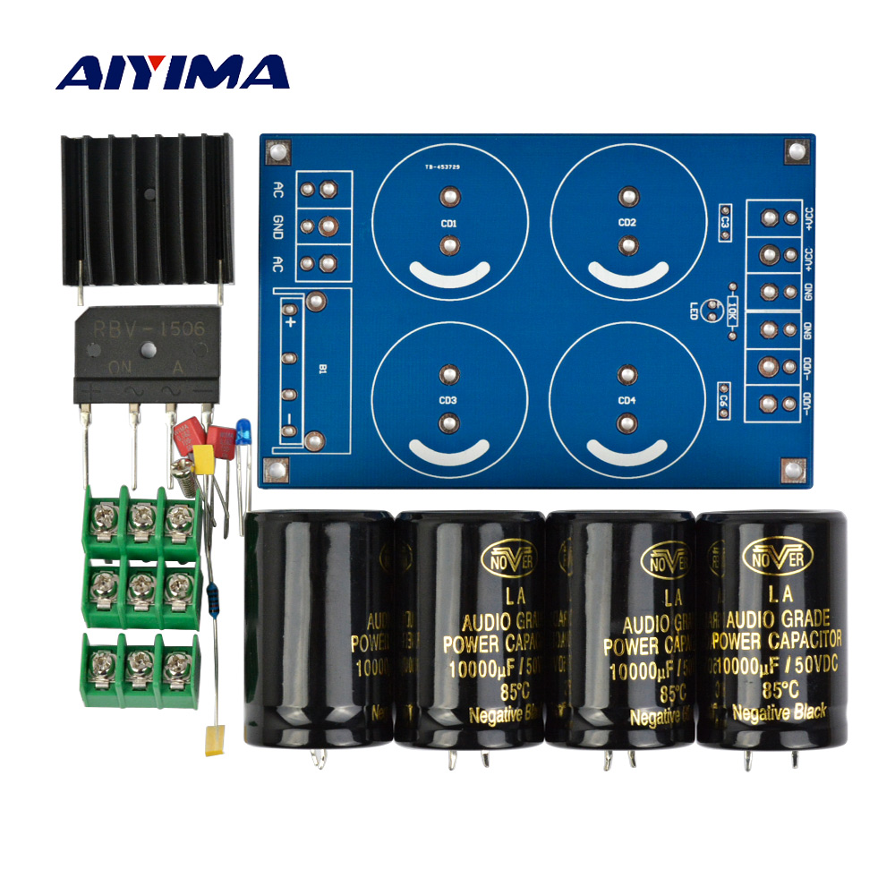 Aiyima Amplifier Rectifier Filter Double Power Supply Kits 50a 500w Car Stereo Kit 800w Sub 2 Channel Capacitor Wiring Board 4x10000uf Large Full Bridge Subwoofer Dc Amplifiers Diy