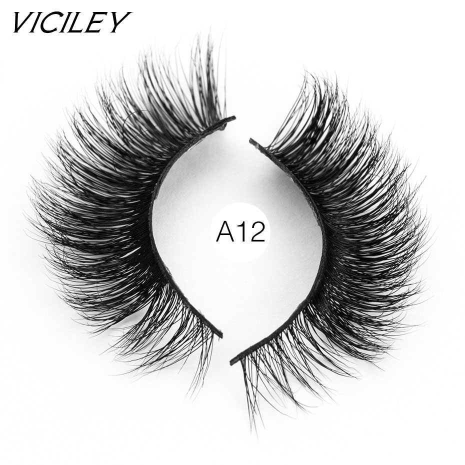 9c805b03842 VICILEY Mink Eyelashes Long Thick Dramatic Lashes Handmade Mink Fur False  Eyelashes cilios posticos 3d mink lashes A12