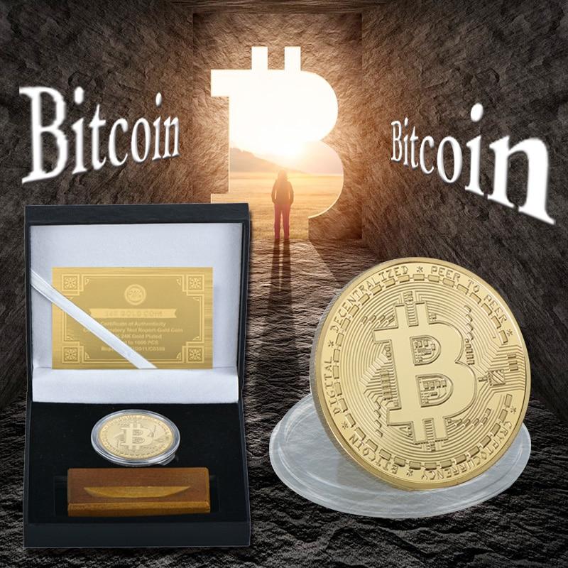 WR Gold Bitcoin Bit Coin con caja de regalo de calidad Base de madera réplica Metal moneda coleccionables conmemorativa Crypto moneda