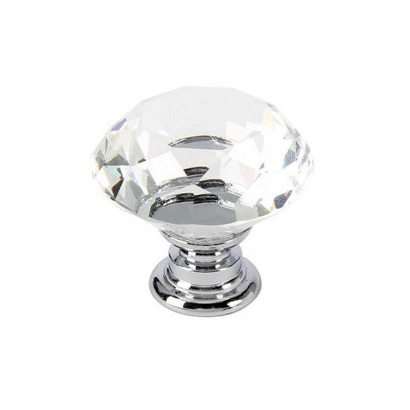 30mm Diamond Shape Design Crystal Glass Knobs Cupboard Drawer Pull Kitchen Cabinet Door Wardrobe Handles Hardware