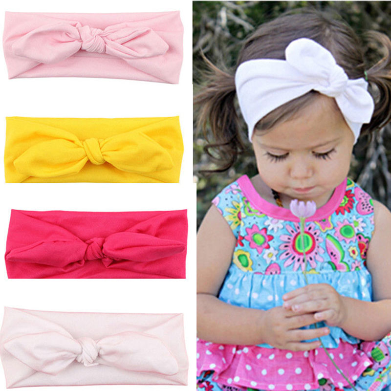 8 Color Trendy Lovely Rabbit Ears Bowknot Headwear Shaped Elastic Cloth  Girls Hairbands Children Hair Accessories Gifts magic elacstic hair bands big rose decor elastic hairbands hair clips headwear barrette bowknot for women girls accessories