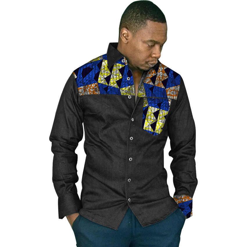 a9a36a56b91 Частный настраиваемый мужчины Африканский принт Стенд воротник Топы рубашка  dashiki мужской африканский рубашка тенденции лоскутное Африка