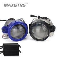 2017 Mới MAXGTRS Tự Động Bi-LED Projector Headlight Lens Phổ Loại 35 Wát LHD RHD LHD LED Đèn Pha Ô Tô-Styling Retrofit Kit