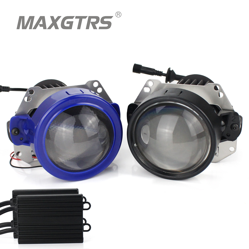 2017 New MAXGTRS Auto Bi-LED Projector Lens Headlight Universal Type 35W LHD RHD LHD LED Headlight Car-Styling Retrofit Kit led projector lens headlight with ballast 35w 5500k 3 inch projector lens led car