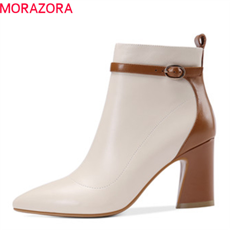 MORAZORA 2018 new arrival autumn boots women pointed toe genuine leather boots zipper mixed colors fashion shoes ankle boots printing new boots 2015 autumn winter genuine leather mixed colors thick with pointed toe woman boots stylish comfortable shoes