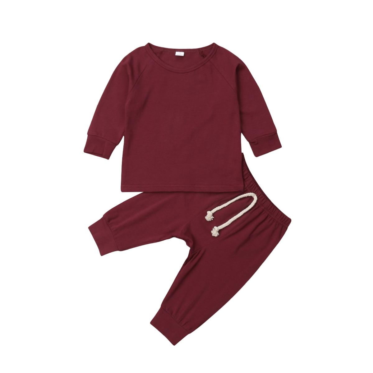 Хлопковый пижамный комплект с длинными рукавами для новорожденных мальчиков и девочек от 0 до 24 месяцев, одежда для сна, одежда для сна, топы и штаны, комплекты одежды для малышей из 2 предметов - Цвет: Wine Red