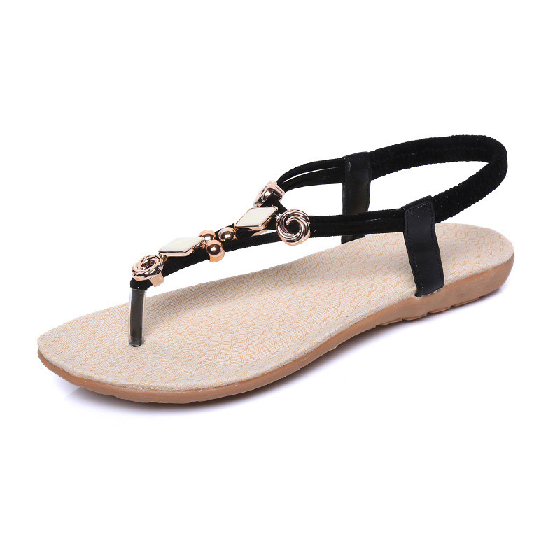 2018 New Fashion Women Bohemia Flat Sandals Shoes String Bead Flip Flop Decor Summer Beach Sandals LBY2018 siketu new women bohemia flat sandals shoes woman string bead flip flop metal decoration beach sandals casual shoes size 35 45