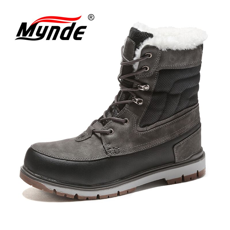 цены на Mynde Men Boots Waterproof Men Footwear Boots 2018 Winter Snow Boots Fur Breathable Fashion Winter Ankle Boots zapatos hombre в интернет-магазинах