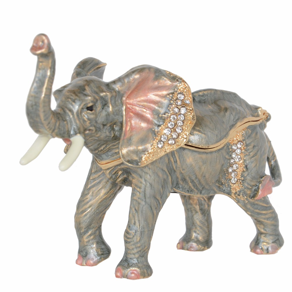 Enameled elephant trinket box jewelry box elephant figurine statue vintage souvenir gift Home Decoration free shipping figurine